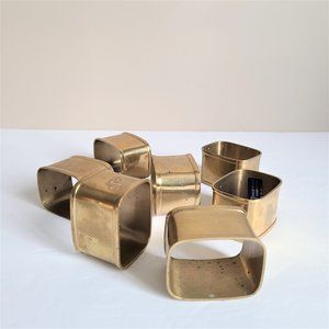 Set of 7 Solid Brass Napkin Rings. Made in India.